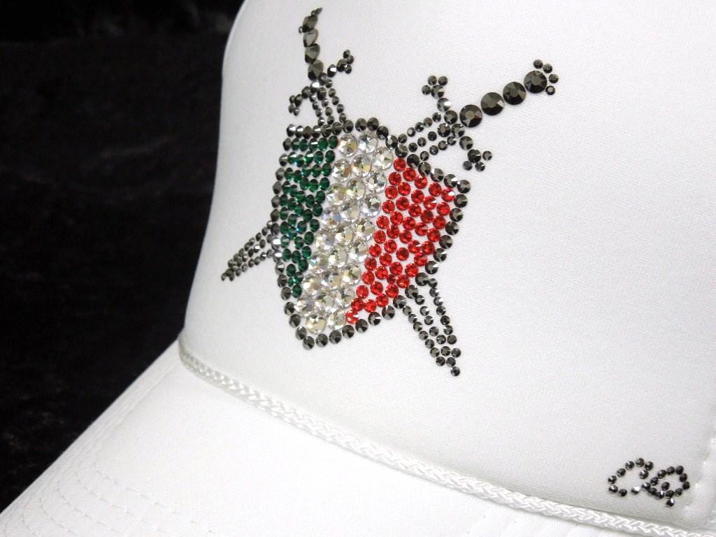 Sword shield emblem Swarovski cap White & Italy color