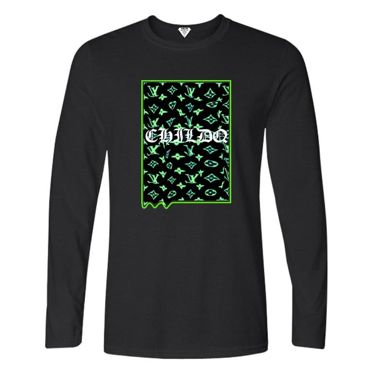 Lime Green Monogram Long T-shirt Black