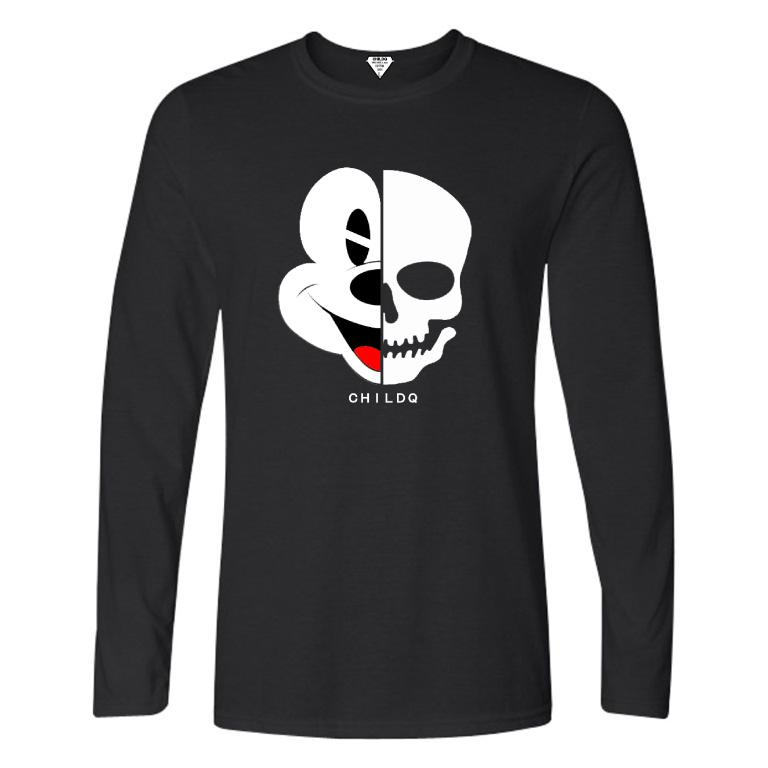 Half Skull Long T-shirt Black