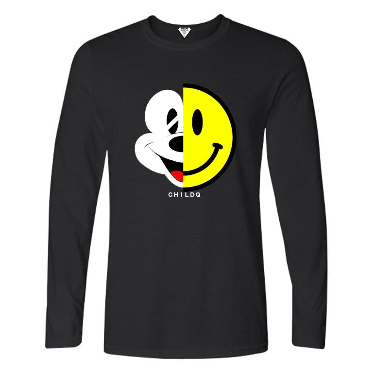 Half smiley long T-shirt Black