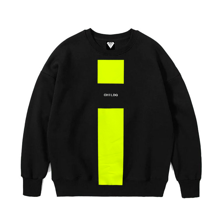 Lime Yellow Line Sweat Black