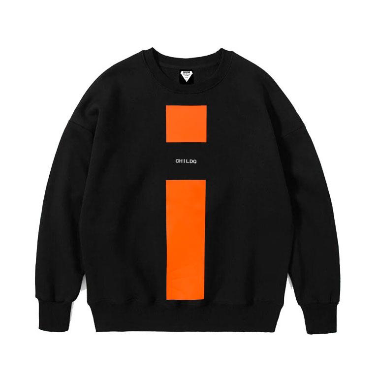 Vivid orange Line Sweat Black