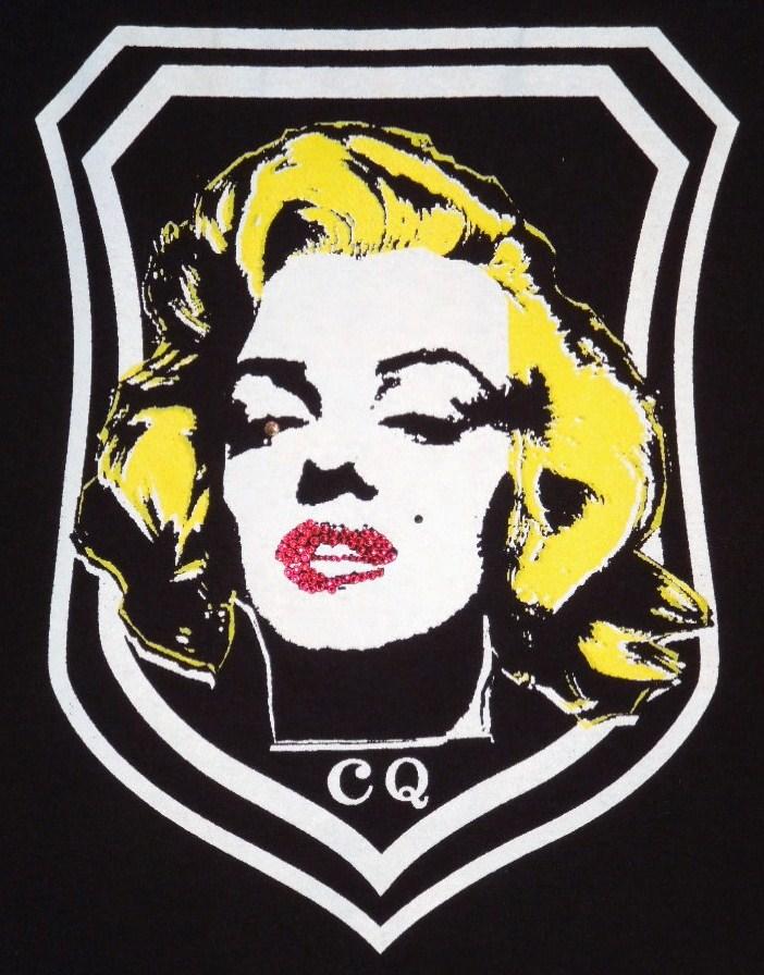 Marilyn Emblem Swarovski zip-up Parka Black×Yellow