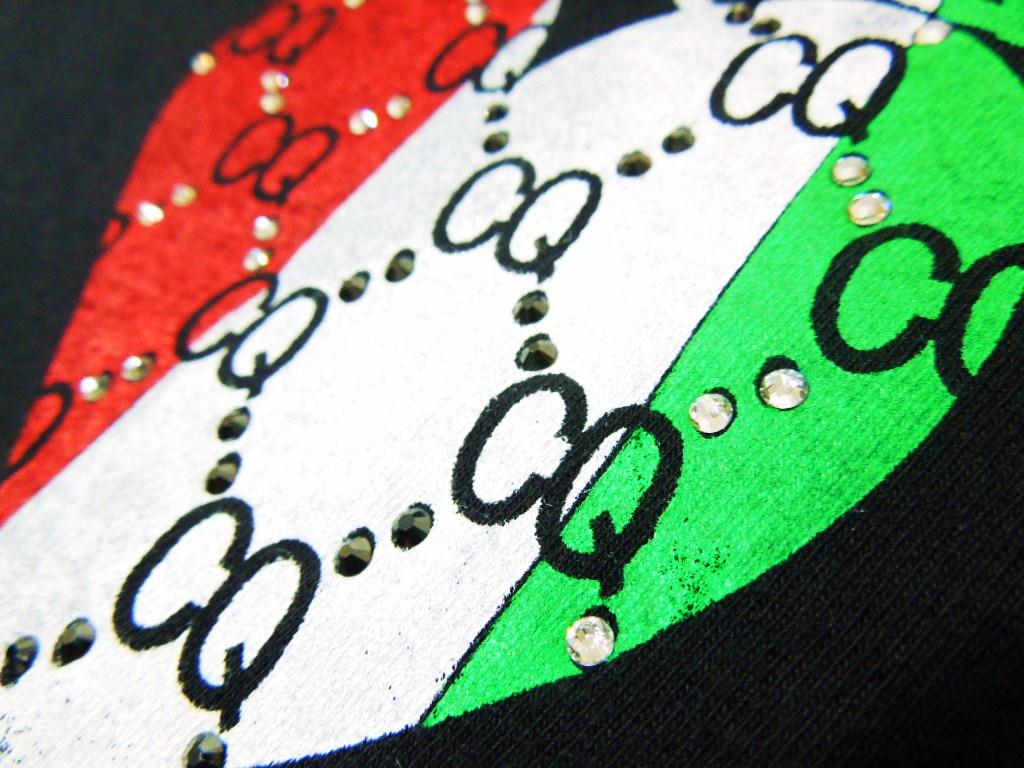 ハートCQ柄 3カラースワロフスキー ロングTシャツ / Black