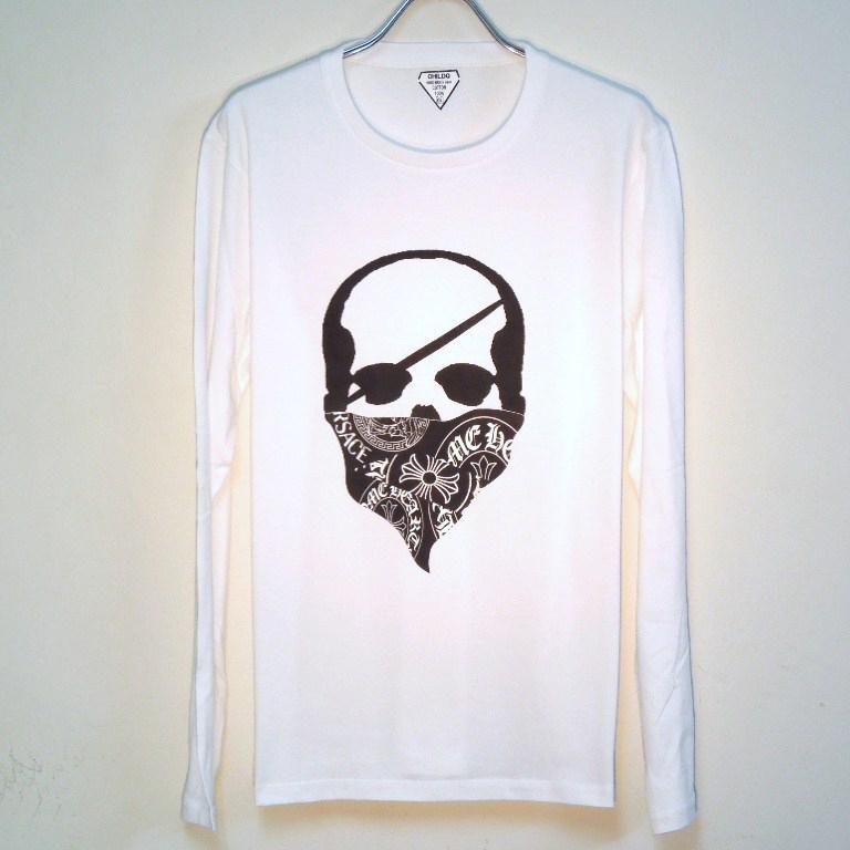 Skull Bandana Logo Pattern Long T Shirt White