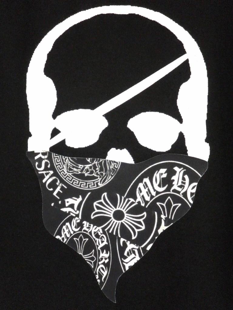 Skull Bandana Logo Pattern Long T Shirt Black