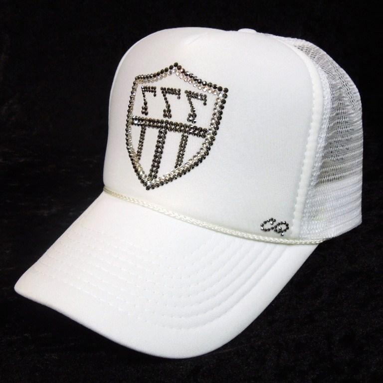 Emblem 3 back 7 Swarovski cap white
