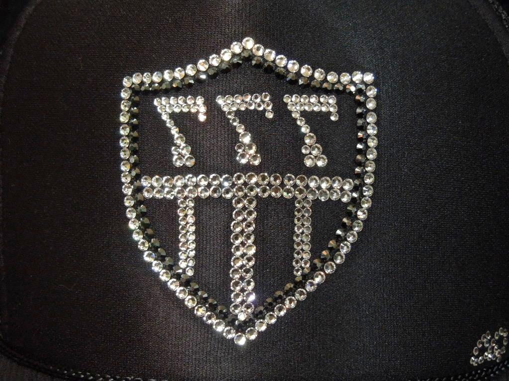 Emblem 3 back 7 Swarovski cap Black
