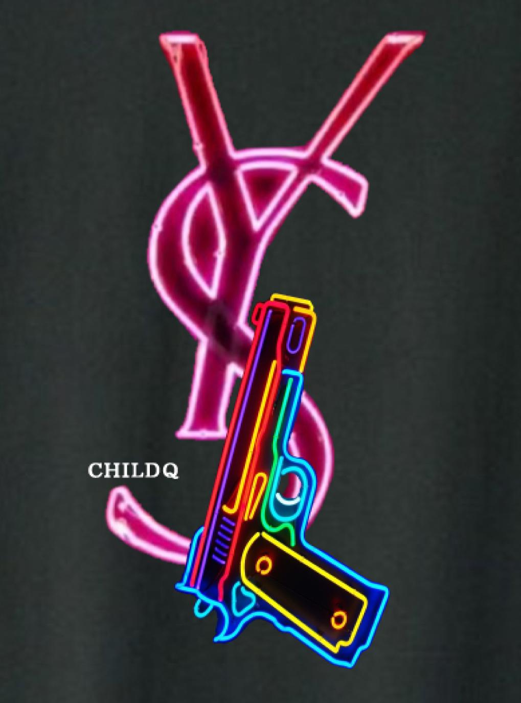 Neon Pop art T-shirt x Black