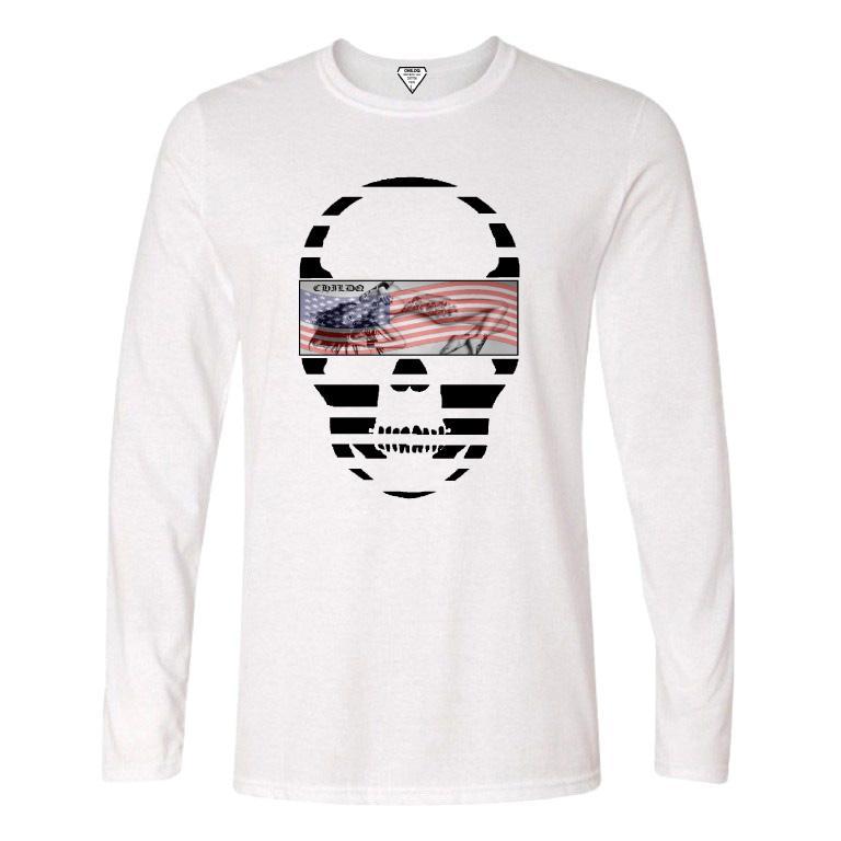 Skull Tattoo Girl NO.28 Long T-shirt White