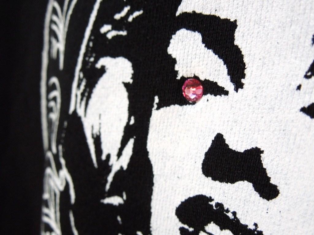 Marilyn Old font mark Swarovski zip-up Parka black