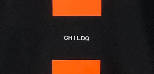 Vivid orange Line T-shirt Black