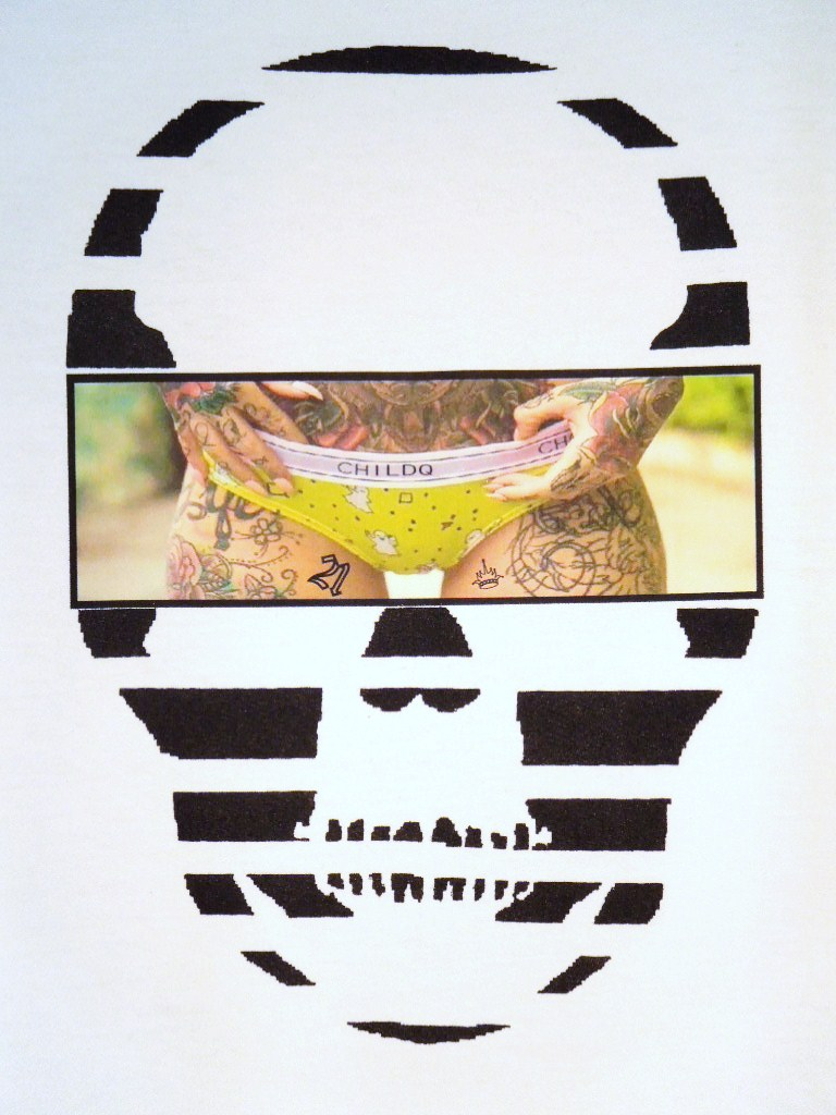 Skull Tattoo Girl NO.21 Long T-shirt White