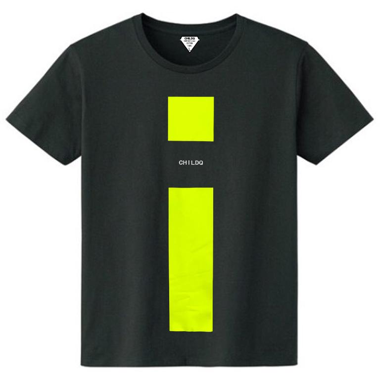 Lime Yellow Line T-shirt Black