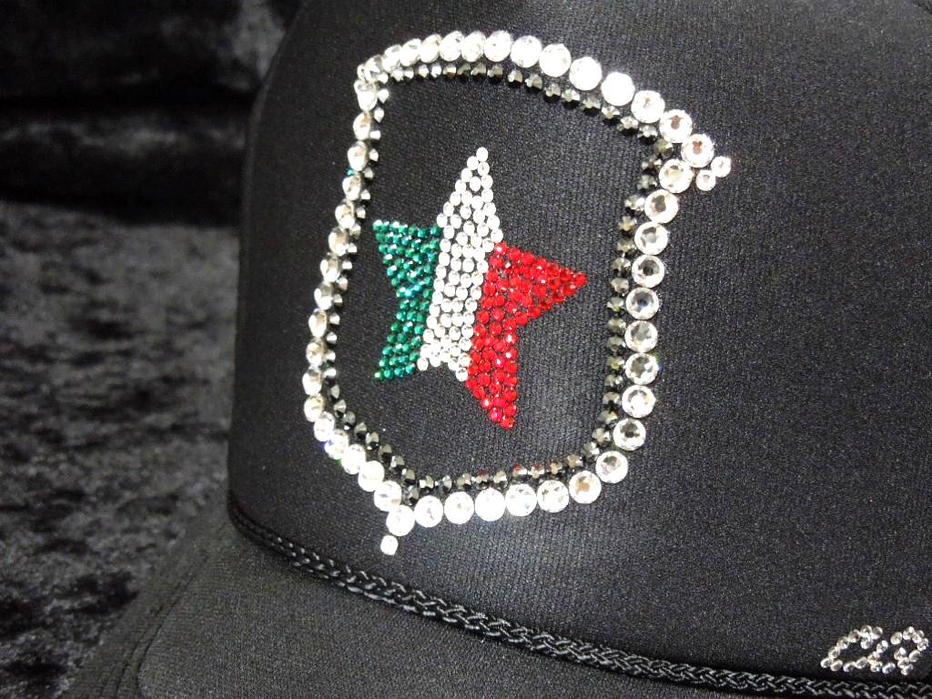 Emblem Italian Star Swarovski Cap Black