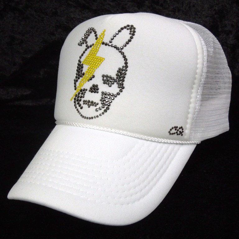 Skull Bunny Thunder Swarovski Cap White