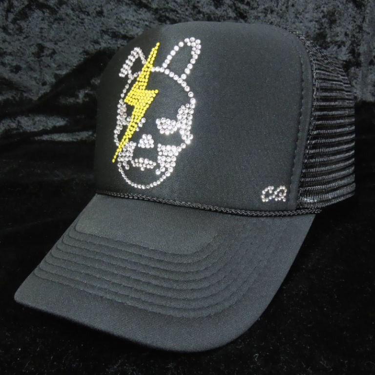 Skull Bunny Thunder Swarovski Cap Black