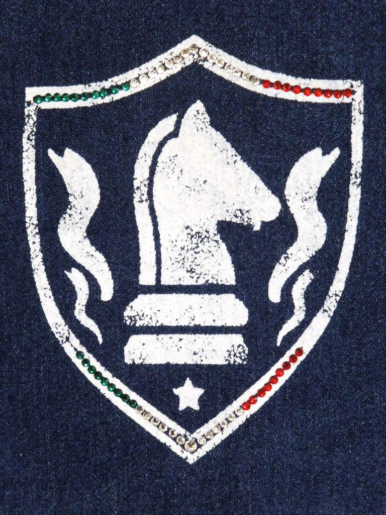 Light Denim Emblem Night Swarovski  Zip Up Parka