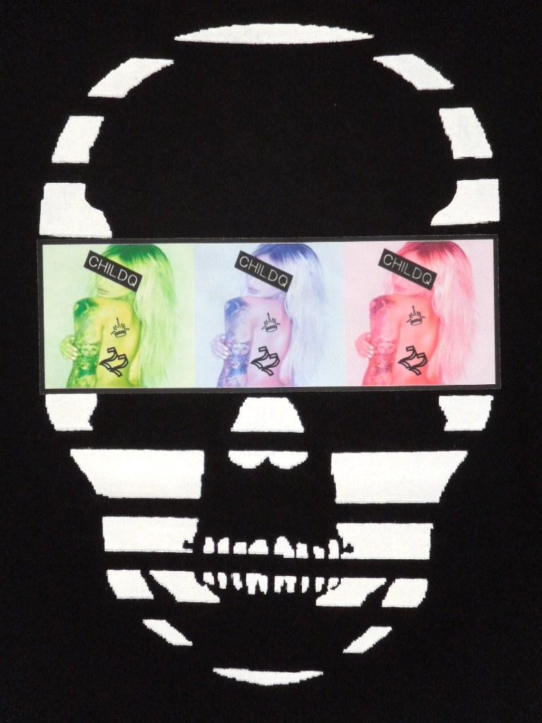 Skull Tattoo Girl NO.22  T-shirt Black