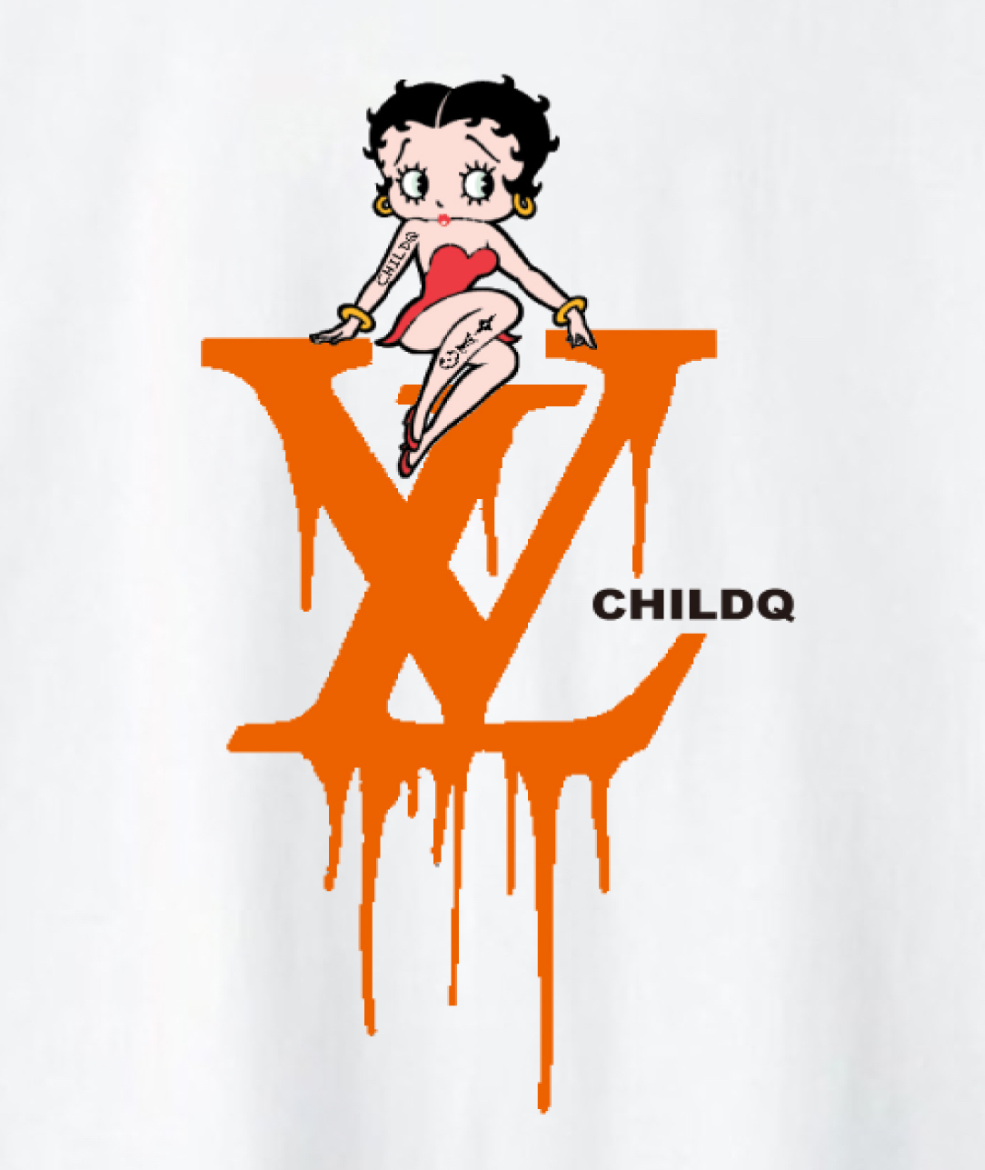 CHILDQ & Betty Black×Orange T-shirt White