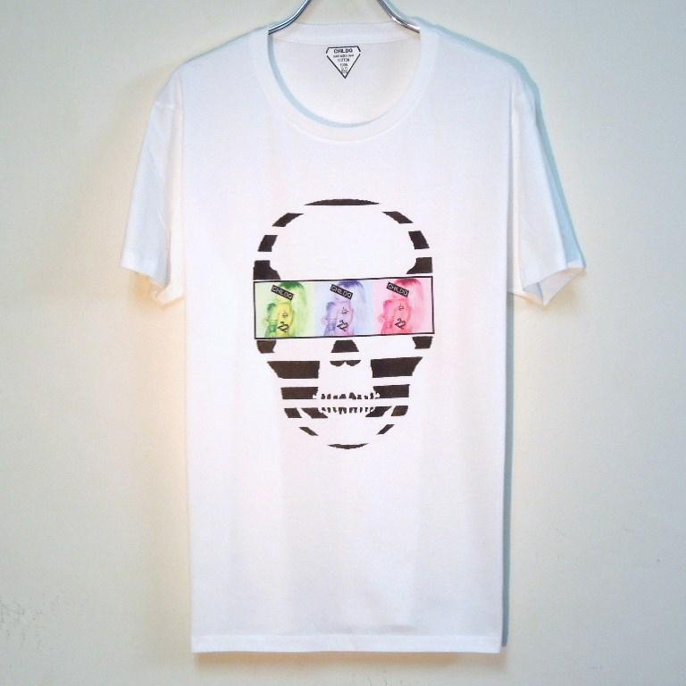 Skull Tattoo Girl NO.22 T-shirt White