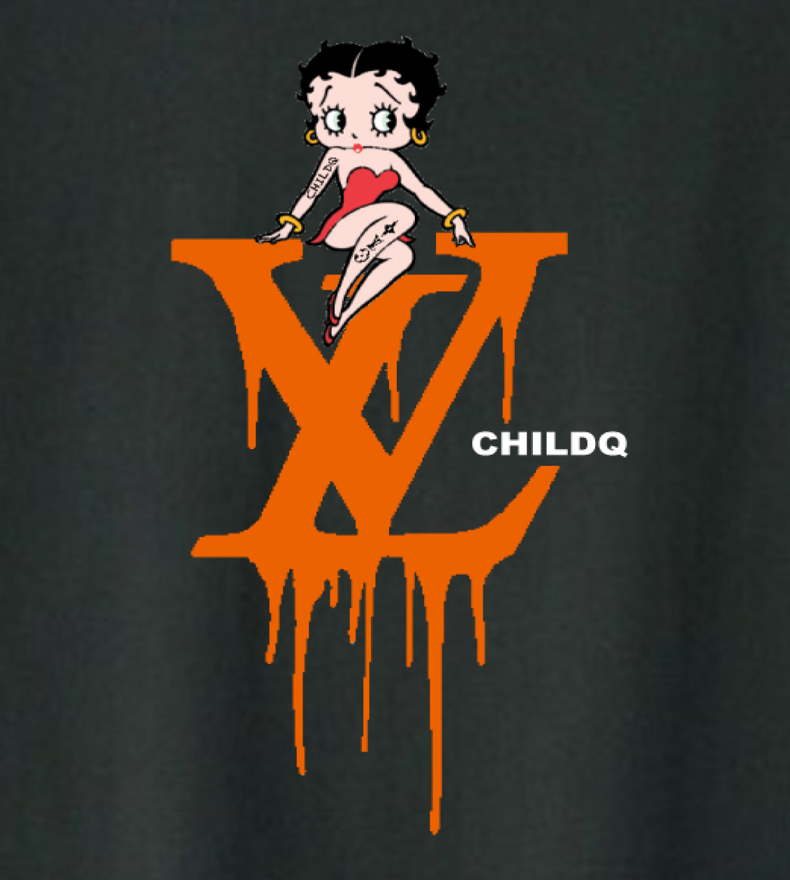 CHILDQ & Betty Black×Orange T-shirt Black