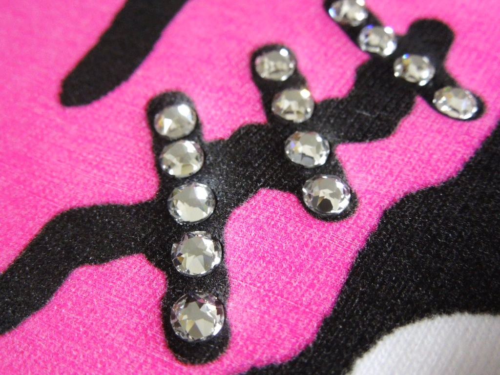 Pop Art Swarovski Long T-shirt White × Pink