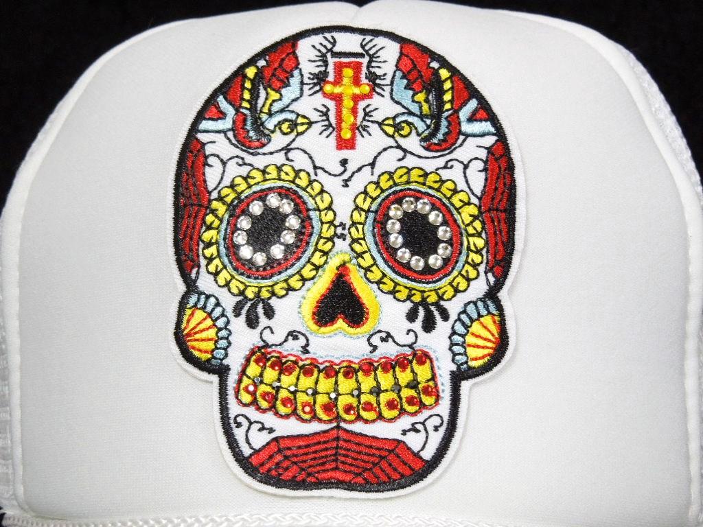刺繍 White skull Swarovski cap white