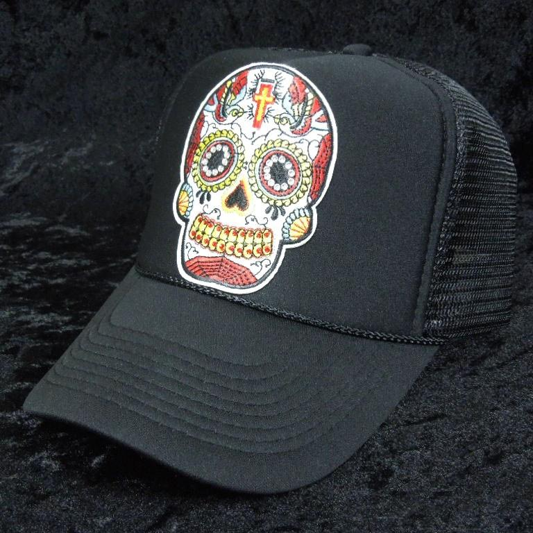 刺繍 Black skull Swarovski cap Black