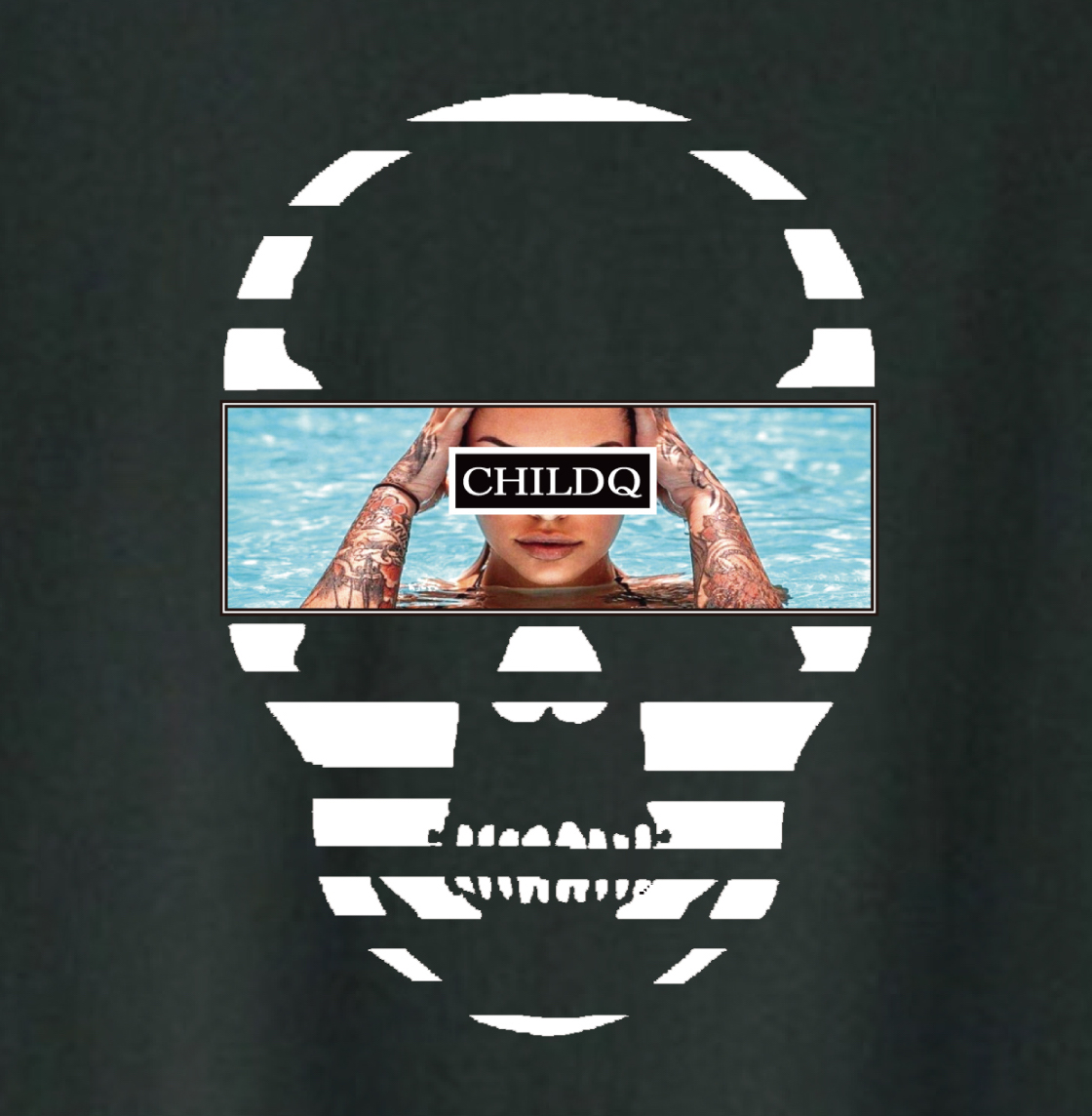 Skull Tattoo Girl NO.34 T-shirt Black