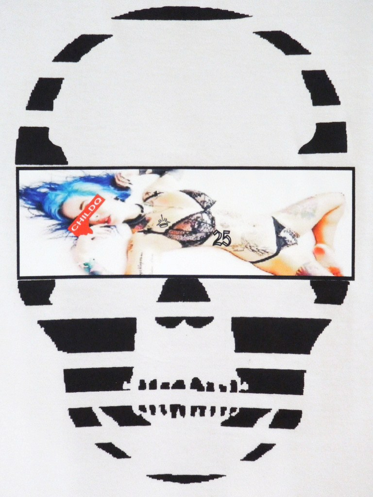 Skull Tattoo Girl NO.25 Long T-shirt White