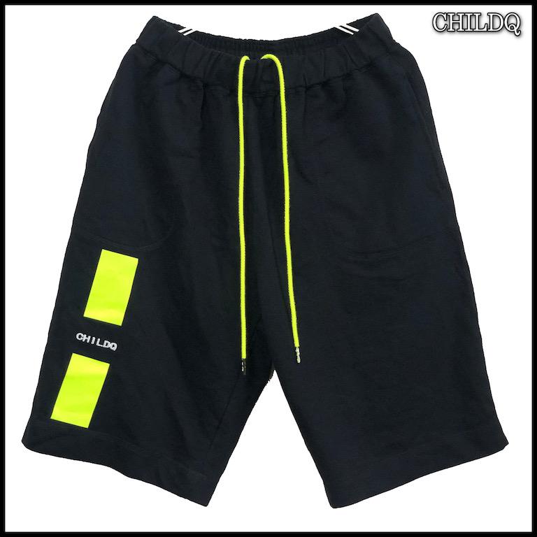 Lime Yellow Line Half pants