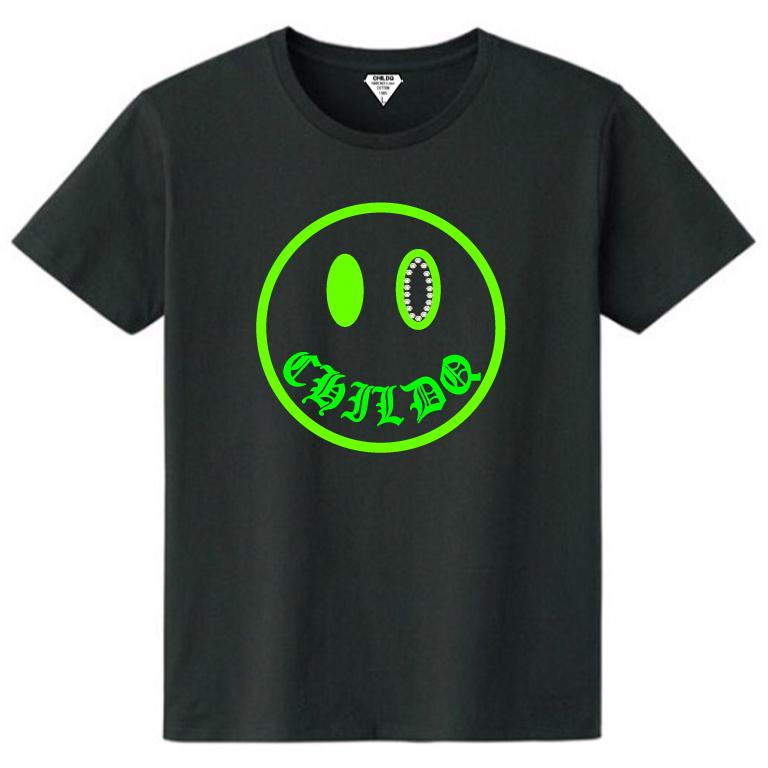 Smiley Lime Yellow Swarovski T-shirt Black