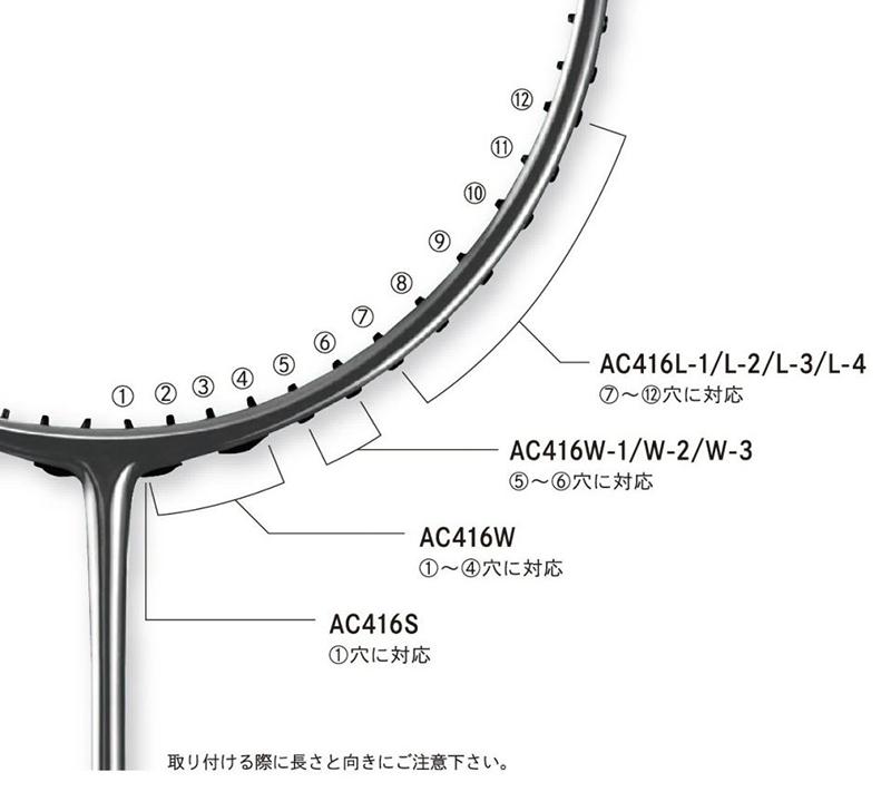 ヨネックス2連続グロメットハトメ AC416W-3 バドミントン ラケット YONEX ゆうパケット対応