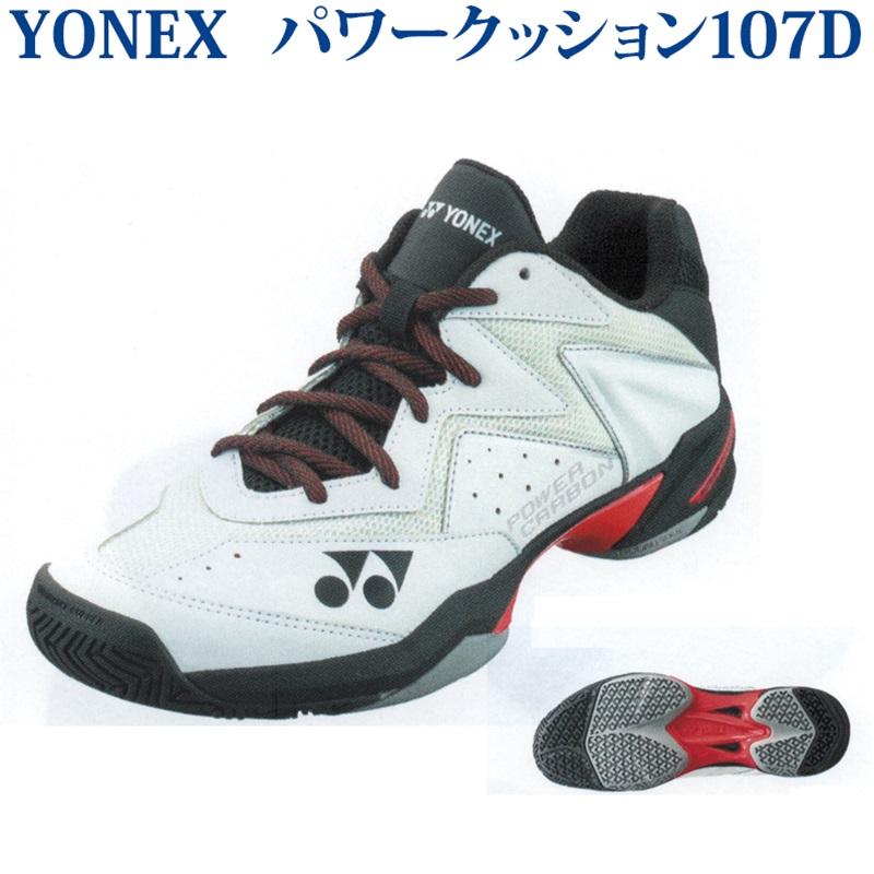 ヨネックス テニスシューズ パワークッション107D SHT107D-114 ホワイト/レッド オムニクレー 2020SS 同梱不可 RFCL