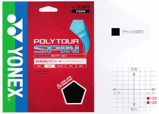ヨネックスPOLYTOUR SPIN 120 ポリツアースピン120PTGS120テニス ストリング ガット 硬式YONEX 2016AW ゆうパケット対応