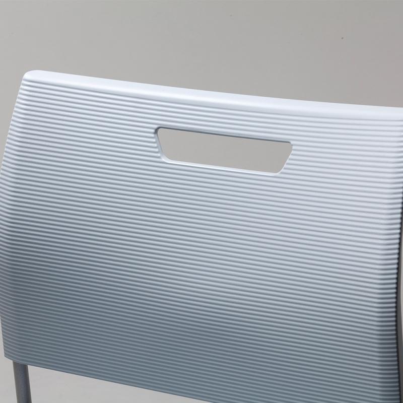 ミーティングチェア スタッキングチェア 学校教育用椅子 ループ脚 スチール シルバー 塗装脚 背座樹脂 | I-CDAS-6