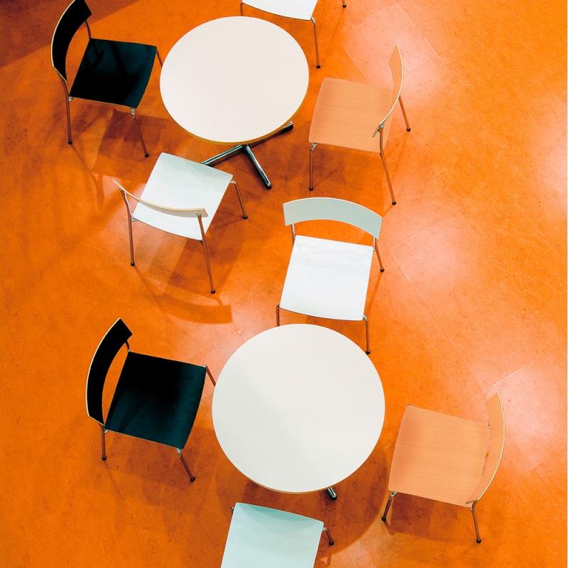 ミーティングチェア ラウンジ用椅子 4本脚 スチール メッキ脚 木 | I-CU51M
