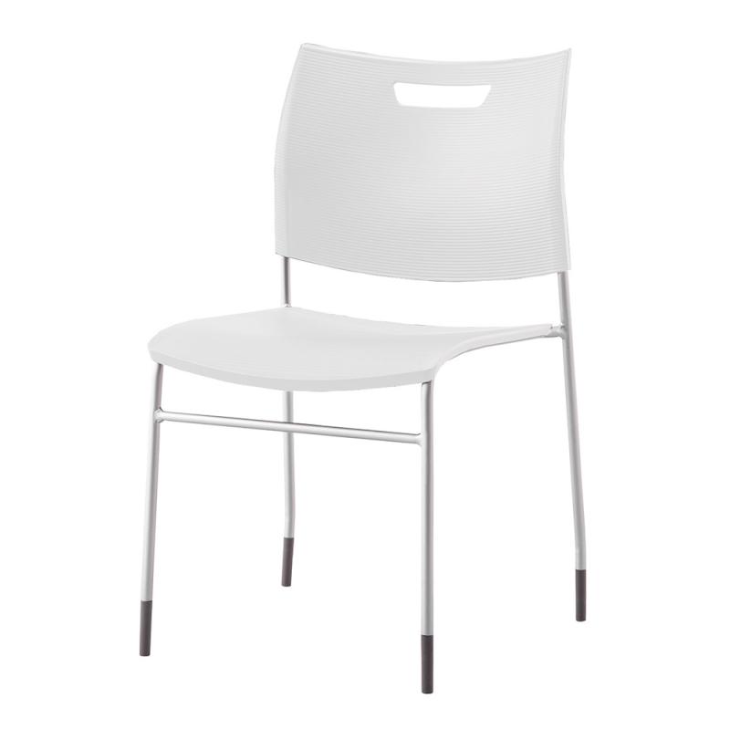 ミーティングチェア スタッキングチェア 学校教育用椅子 4本脚 スチール シルバー 塗装脚 背座樹脂 | I-CDA-4