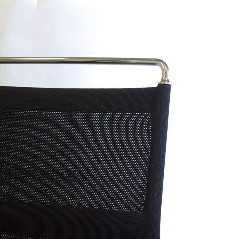 ミーティングチェア スタッキングチェア メッキ脚 背メッシュ ブラック 布   I-DMF30M-SJN