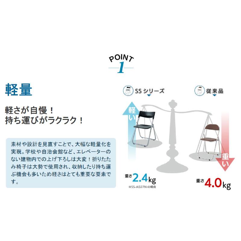 折りたたみ椅子 パイプ椅子 超軽量 2.4kg アルミ脚 | 【10脚セット】 I-SS-A027N