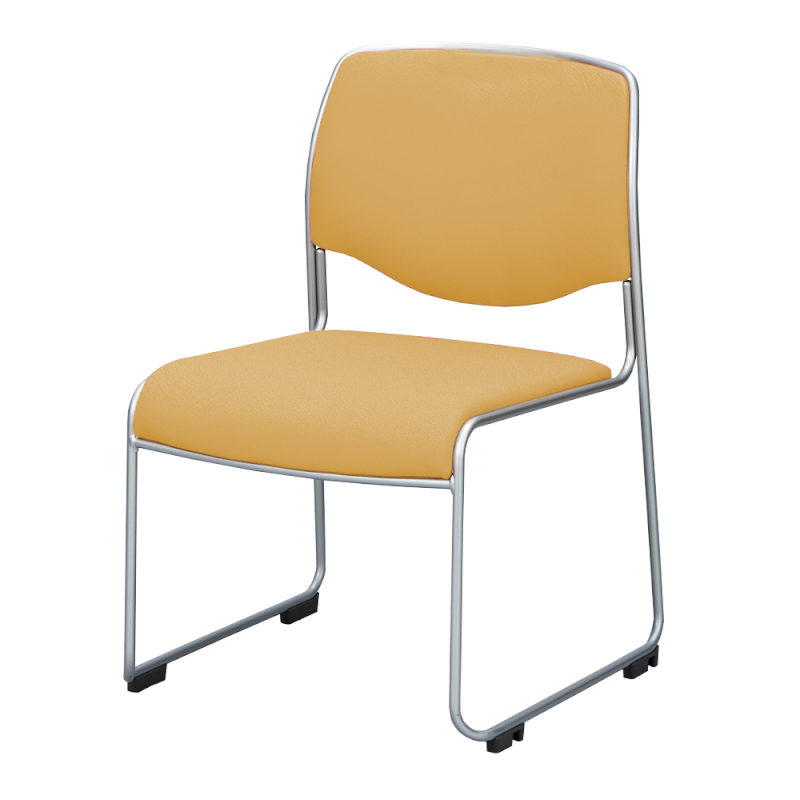 ミーティングチェア スタッキングチェア 会議用椅子 ループ脚 スチール シルバー 塗装脚 レザー | I-DMC20ST-LYL