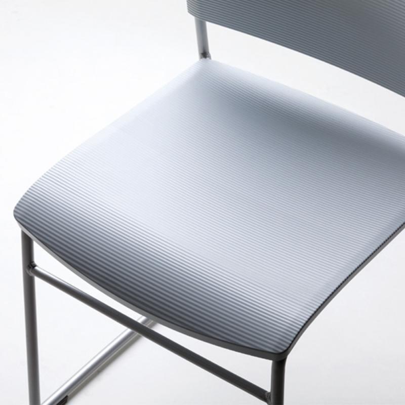 ミーティングチェア スタッキングチェア 学校教育用椅子 4本脚 スチール シルバー 塗装脚 背樹脂 座レザー | I-CDA-4P