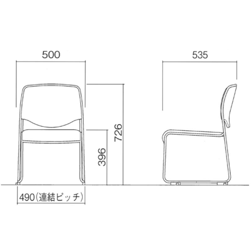 ミーティングチェア スタッキングチェア 会議用椅子 ループ脚 スチール シルバー 塗装脚 布 | I-DMC20ST-SJN