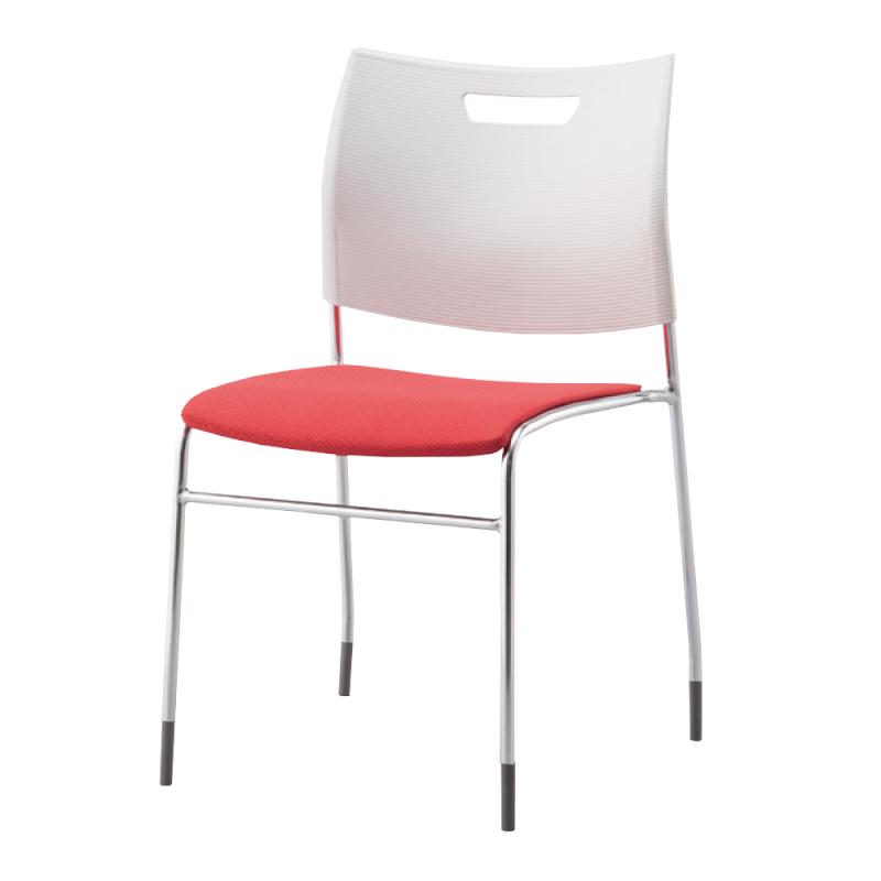 ミーティングチェア スタッキングチェア 学校教育用椅子 4本脚 スチール メッキ脚 背樹脂 座レザー   I-CDA-4PM