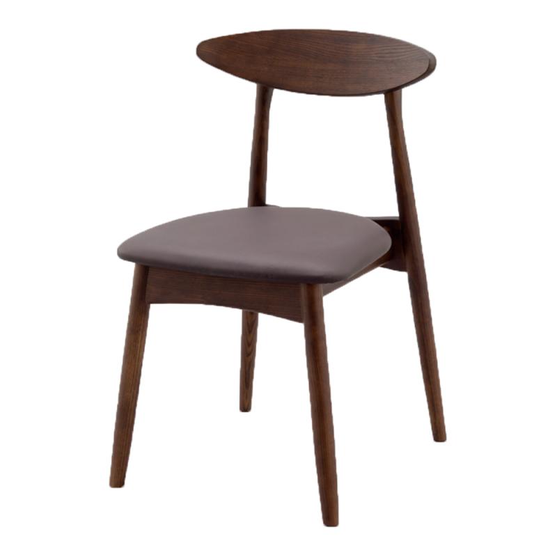 ミーティングチェア 木製チェア ラウンジ用椅子 4本脚 木 木製脚 座パッド付き レザー | I-ECLT-01V-D