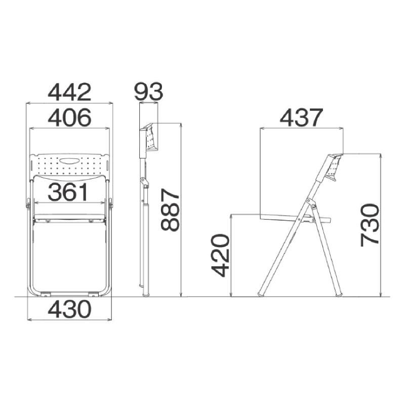 折りたたみ椅子 パイプ椅子 超軽量 2.4kg コンパクト アルミ脚   I-CAL-X01S
