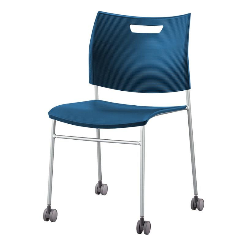 ミーティングチェア スタッキングチェア 学校教育用椅子 4本脚 スチール シルバー 塗装脚 キャスター付き 背座樹脂   I-CDA-4C