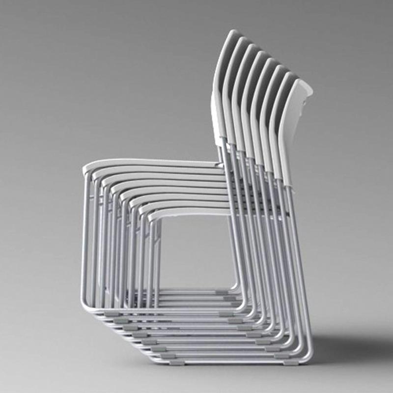 ミーティングチェア スタッキングチェア 学校教育用椅子 4本脚 スチール メッキ脚 キャスター付き 背座樹脂 | I-CDA-4CM