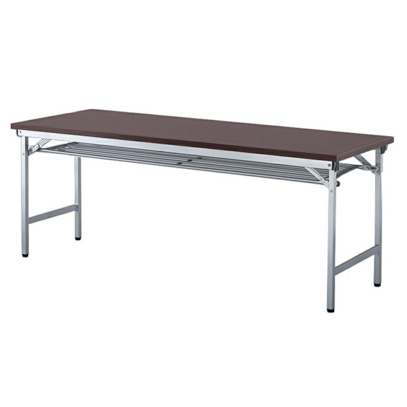 会議用テーブル 折りたたみ W1800 D600 H700 棚付き 木目 | I-OTR-1860T